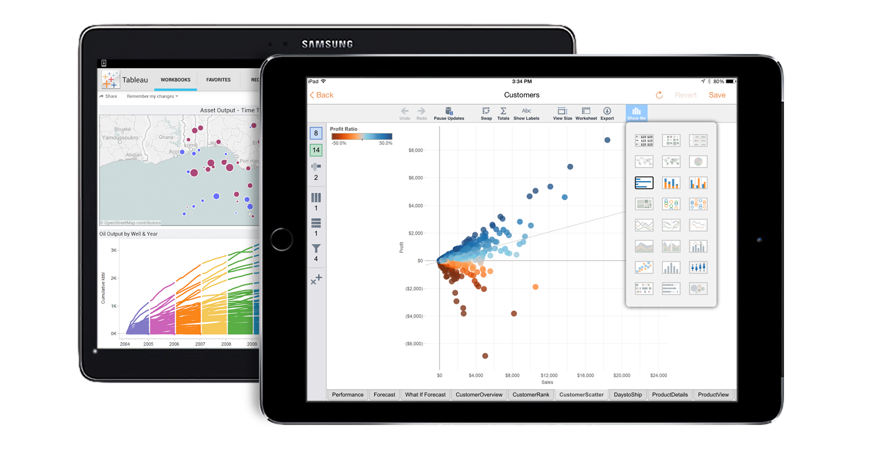 Tableau Mobile touch and ask screen
