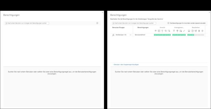 Arbeitsmappen-Berechtigungen am Tableau Server mit und ohne Registerkarten