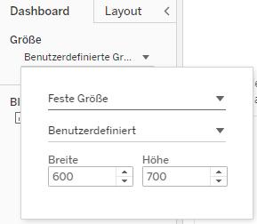 Dashboard-Größe in Tableau ändern
