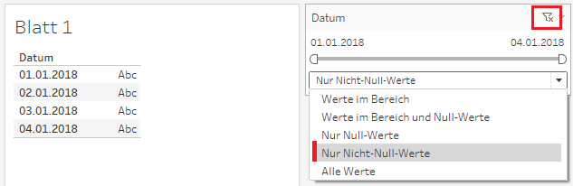 Datumsfilter in Tableau mit Nur Nicht-NULL-Werten angezeigt