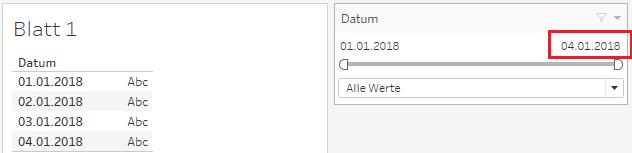 Datumsfilter in Tableau mit Selbst-Aktualisierung