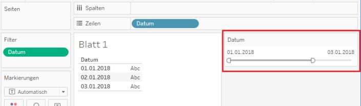 Datumsfilter in Tableau ohne Aktualisierung
