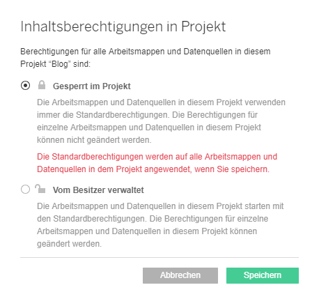 Inhaltsberechtigungen in Projekt am Tableau Server